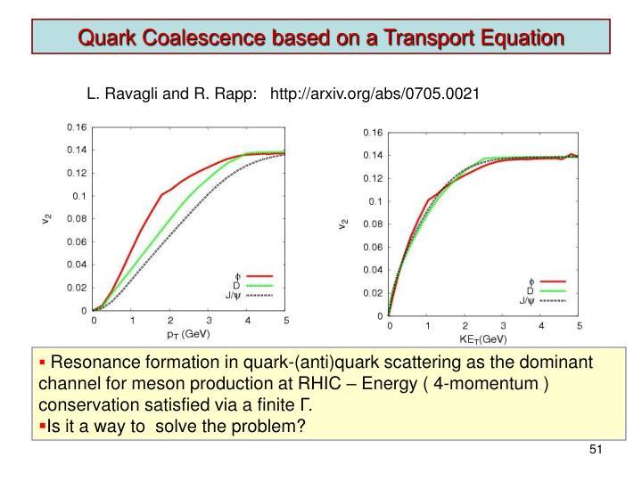 Quark Coalescence based on a Transport Equation