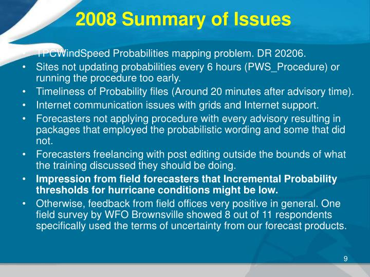 2008 Summary of Issues