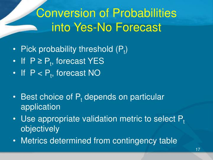 Conversion of Probabilities