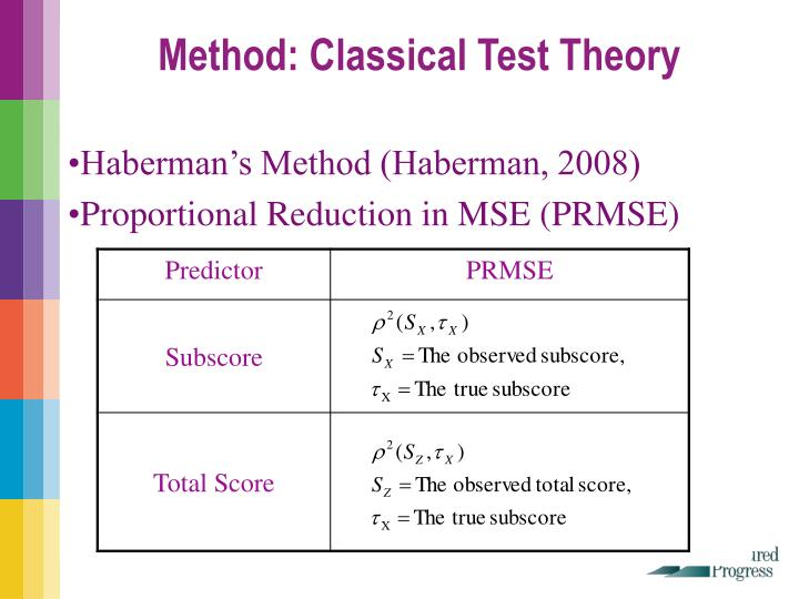 Method: Classical Test Theory