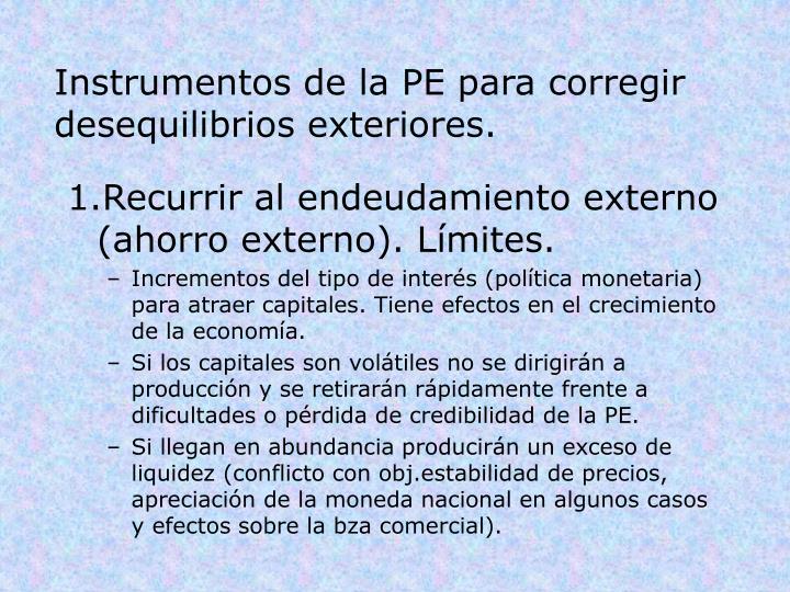 Instrumentos de la PE para corregir desequilibrios exteriores.