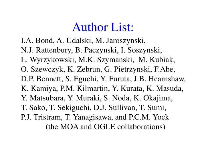 Author List: