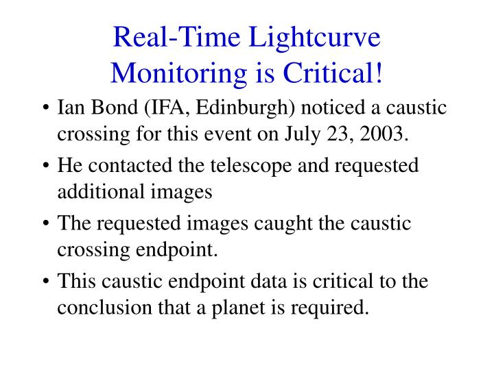 Real-Time Lightcurve Monitoring is Critical!