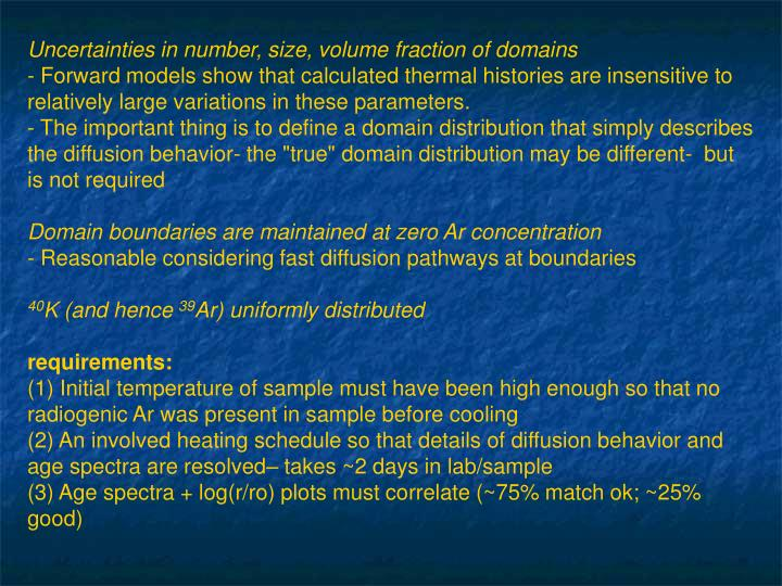 Uncertainties in number, size, volume fraction of domains