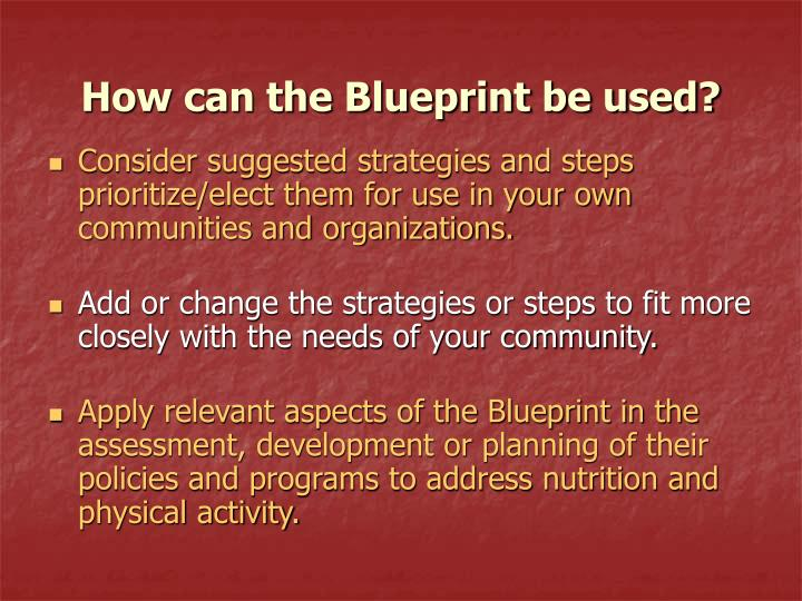 How can the Blueprint be used?