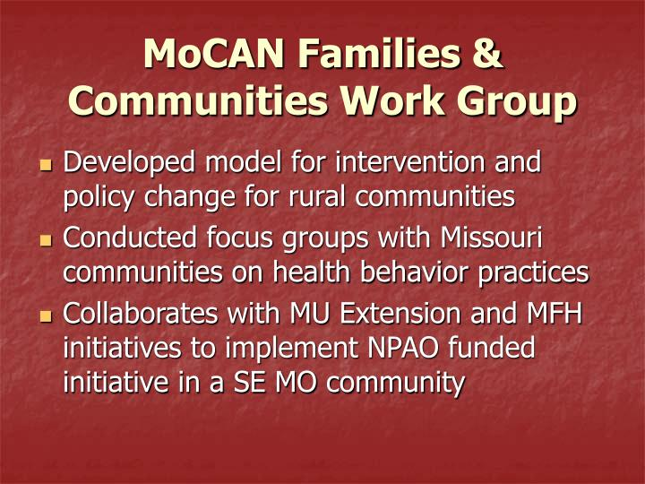 MoCAN Families & Communities Work Group