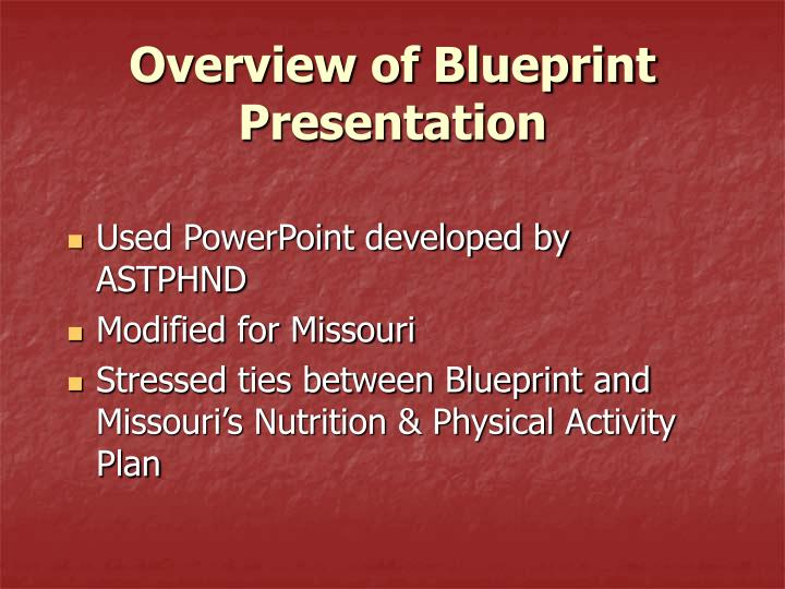 Overview of Blueprint Presentation