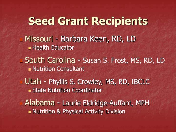 Seed Grant Recipients