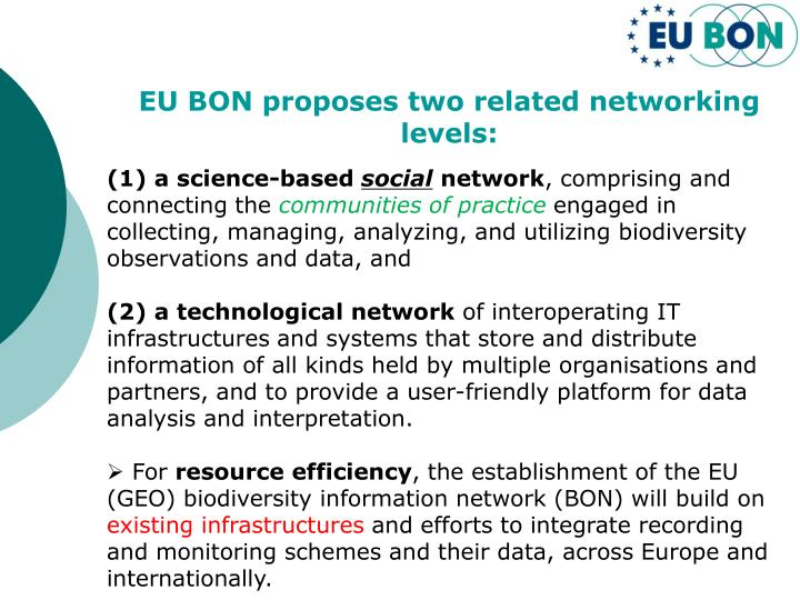 EU BON proposes two related networking levels: