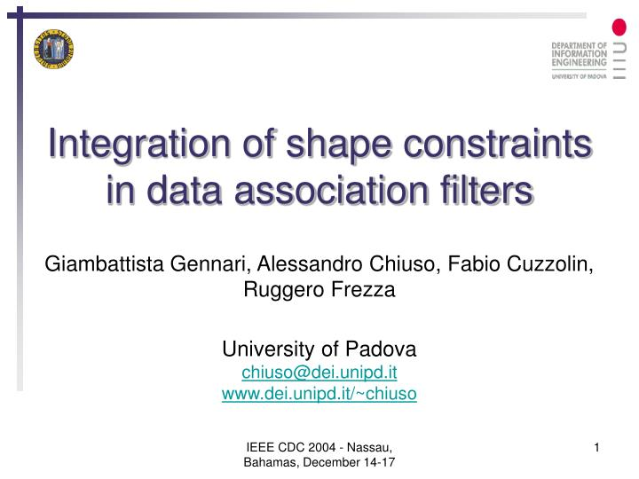 Integration of shape constraints in data association filters