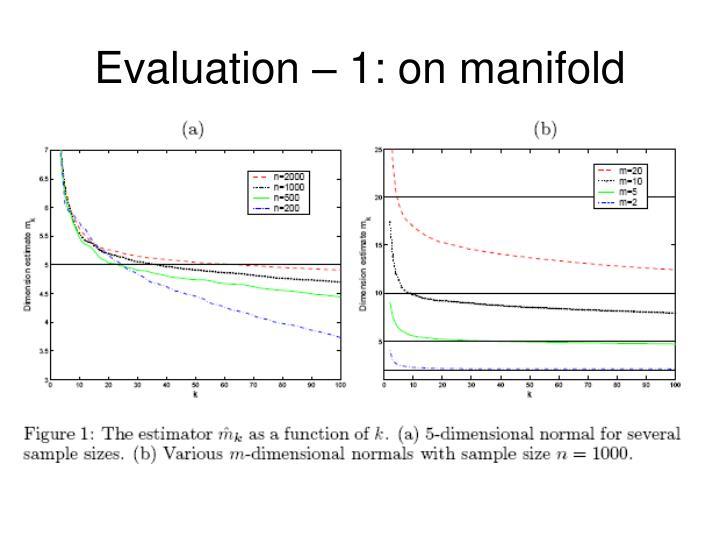 Evaluation – 1: on manifold