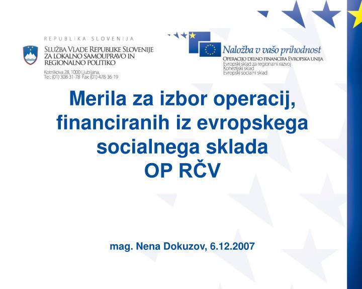 Merila za izbor operacij, financiranih iz evropskega socialnega sklada