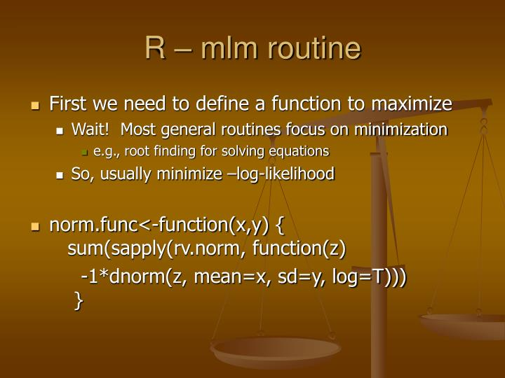 R – mlm routine