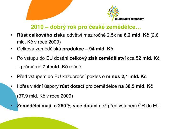 2010 – dobrý rok pro české zemědělce…
