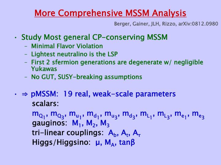 More Comprehensive MSSM Analysis