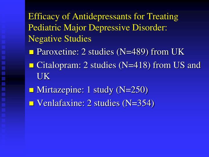 Efficacy of Antidepressants for Treating Pediatric Major Depressive Disorder: Negative Studies