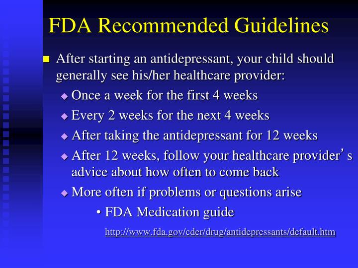 FDA Recommended Guidelines