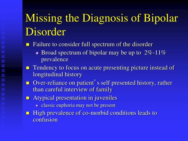 Missing the Diagnosis of Bipolar Disorder