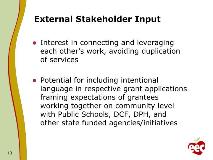 External Stakeholder Input