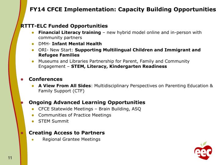 FY14 CFCE Implementation: Capacity Building Opportunities