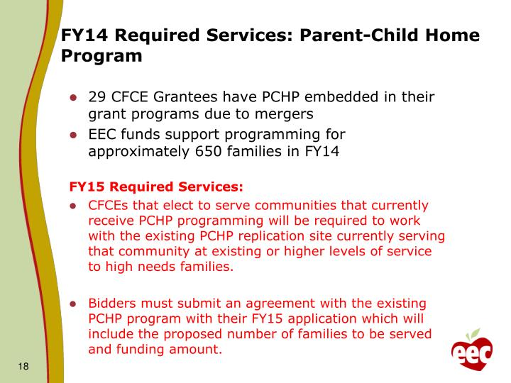 FY14 Required Services: Parent-Child Home Program