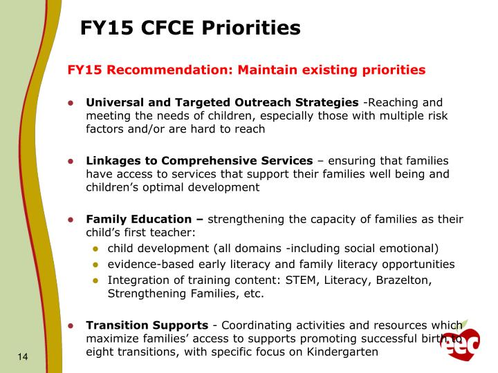 FY15 CFCE Priorities