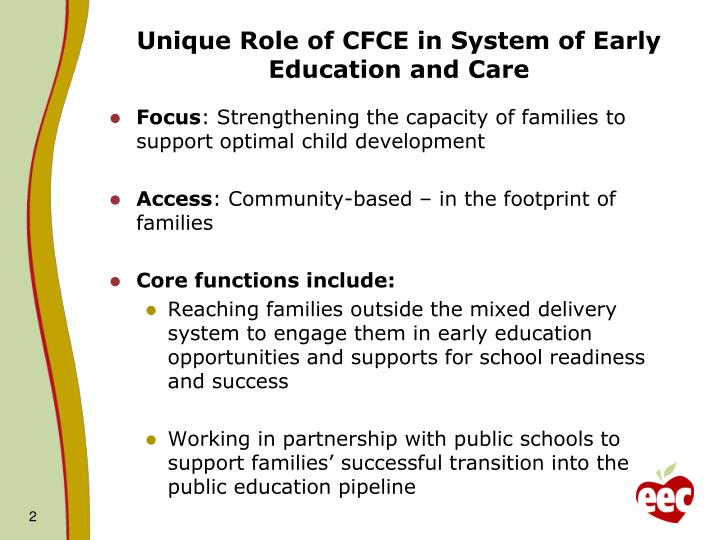 Unique Role of CFCE in System of Early Education and Care
