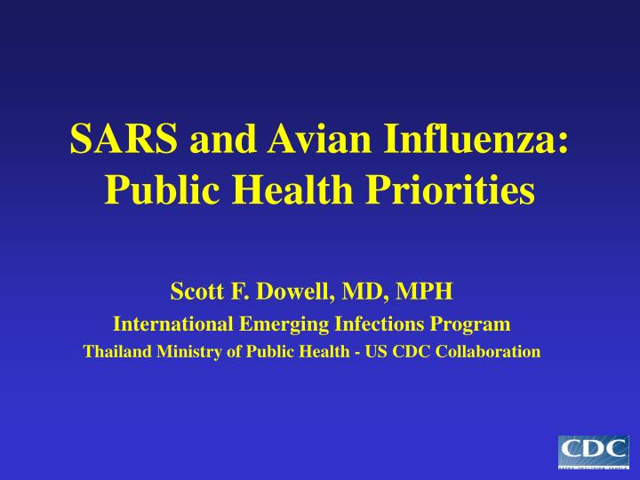 sars and avian influenza public health priorities