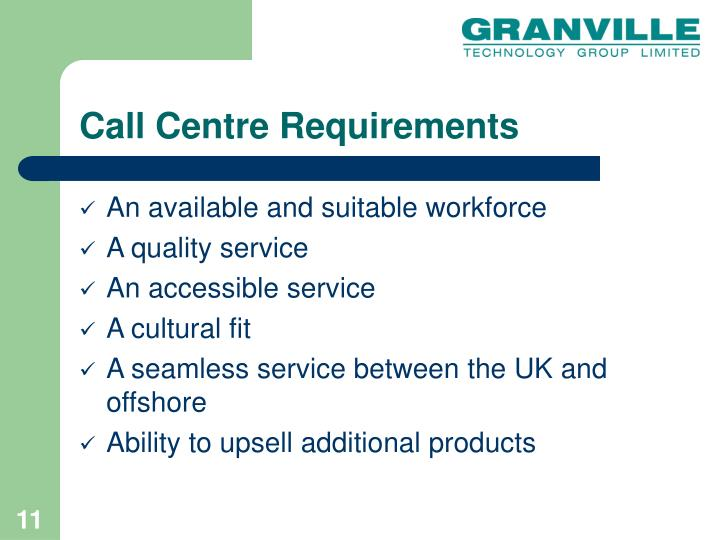 Call Centre Requirements
