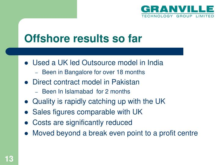 Offshore results so far
