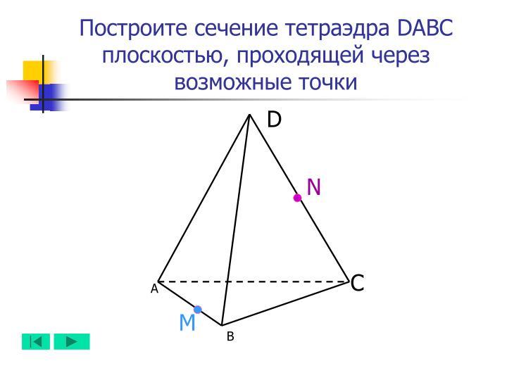 Построите сечение тетраэдра