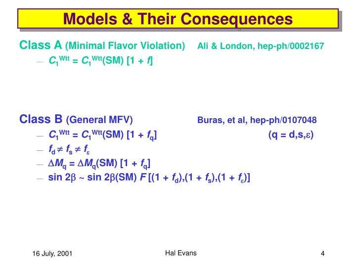 Models & Their Consequences