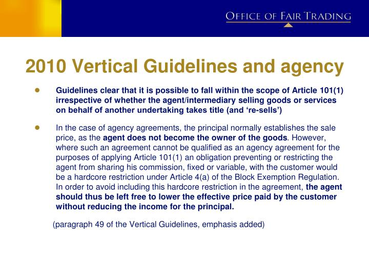 2010 Vertical Guidelines and agency