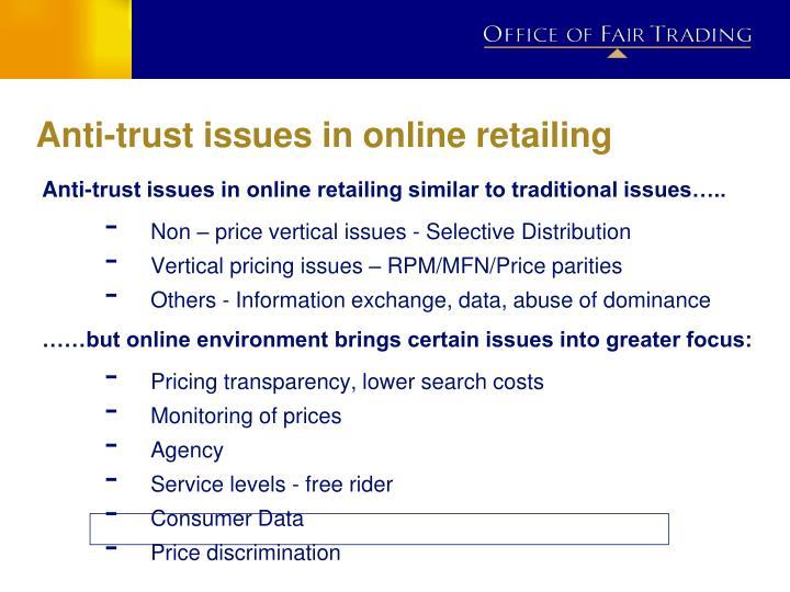 Anti-trust issues in online retailing