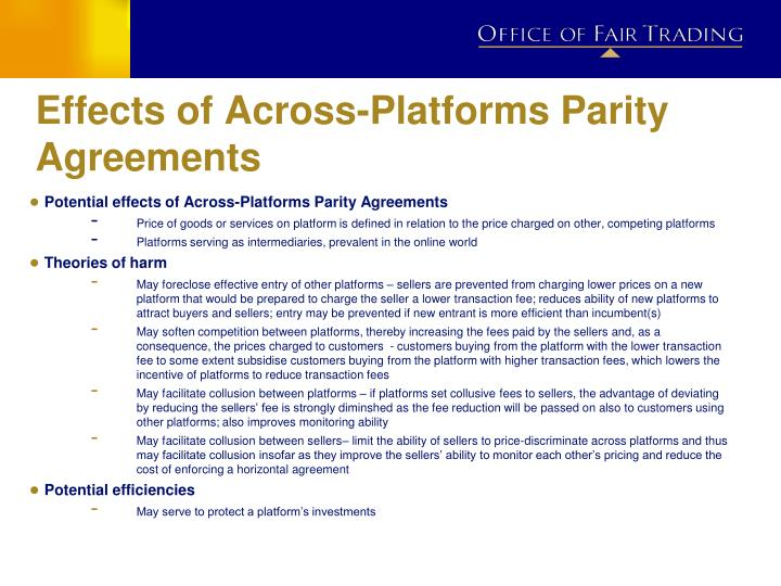 Effects of Across-Platforms Parity Agreements