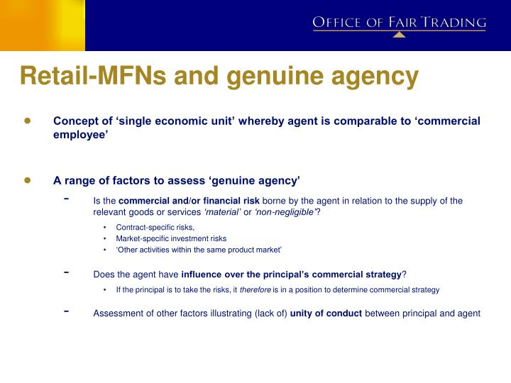Retail-MFNs and genuine agency
