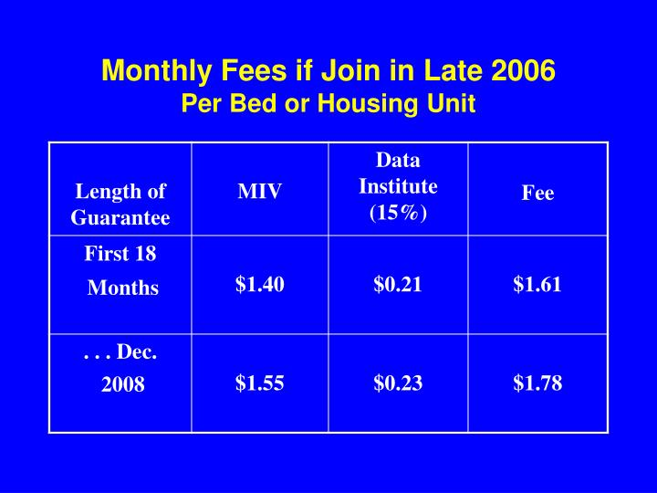Monthly Fees if Join in Late 2006