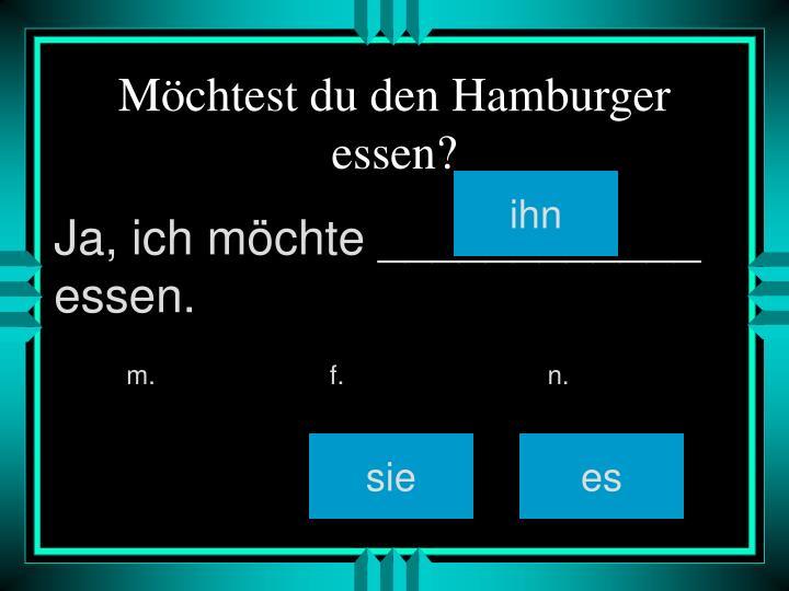 Möchtest du den Hamburger essen?