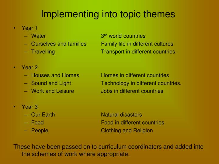 Implementing into topic themes