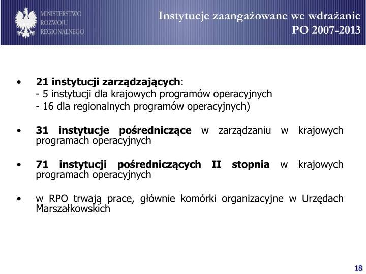 Instytucje zaangażowane we wdrażanie