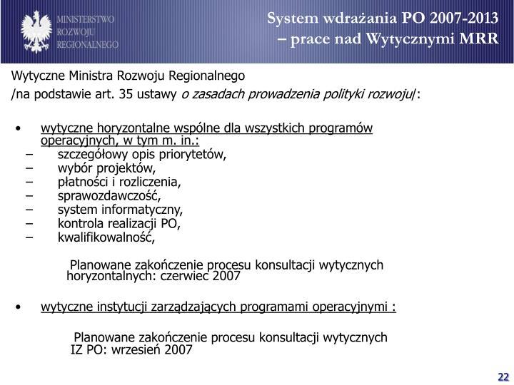 System wdrażania PO 2007-2013