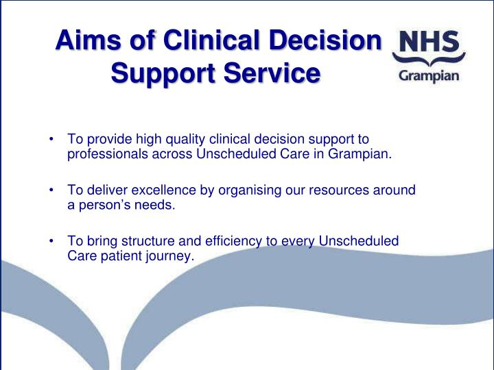 Aims of Clinical Decision Support Service