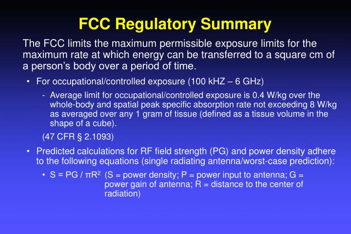 FCC Regulatory Summary