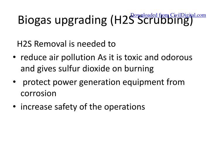 Biogas upgrading (H2S Scrubbing)