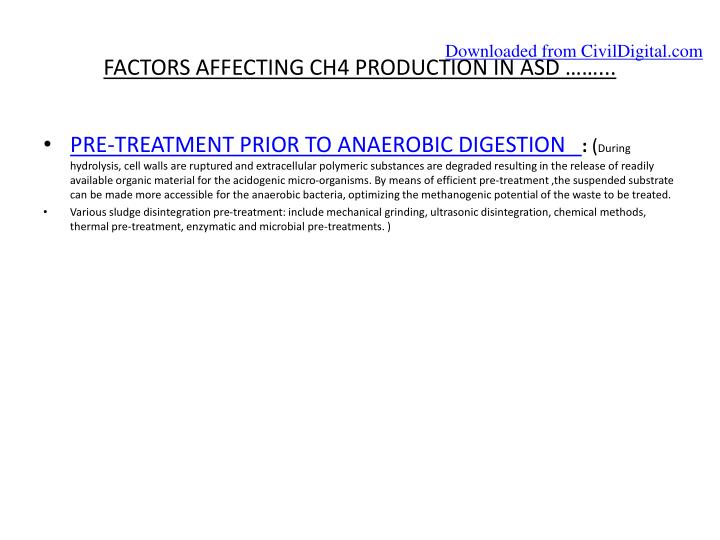 FACTORS AFFECTING CH4 PRODUCTION IN ASD ……...