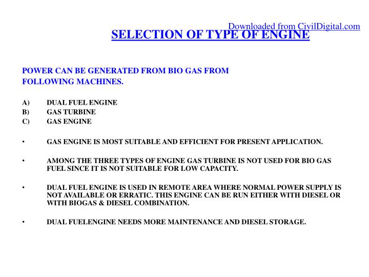 SELECTION OF TYPE OF ENGINE