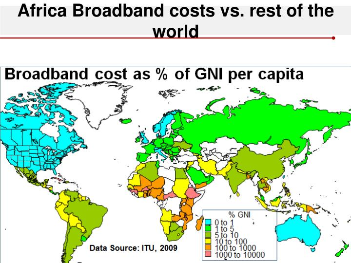Africa Broadband costs vs. rest of the world