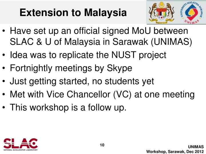 Extension to Malaysia
