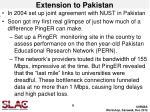 extension to pakistan