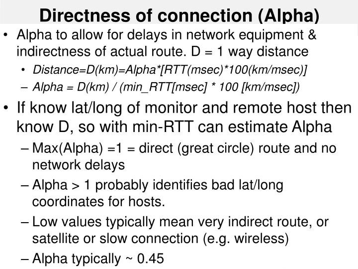 Directness of connection (Alpha)